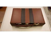 Vintage bakelite-like dominoes in original faux leather hinged box/case