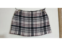 LADIES RIVER ISLAND MINI SKIRT LARGE CHECK FULLY LINED POST OUT OR COLLECT TOTTON