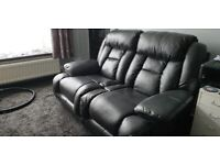 ELECTRIC RECLINER**2 SEATER**BLACK BONDED LEATHER** TWIN SEATER SOFA **SETTEE