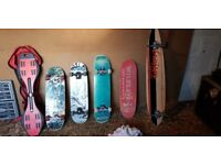 Selection of skateboards and rip stick