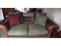 Large 3 seater leather and fabric sofa by Tetrad