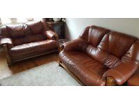 2x brown leather sofa