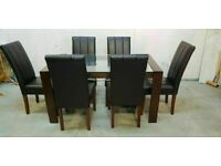 Walnut and Glass Table and 6 Chairs No160710