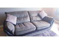 large two seater sofa 90'x38' and small two seater sofa 78'x38' gery with blacl leather