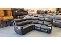 Ex-display Milano black leather manual recliner corner sofa