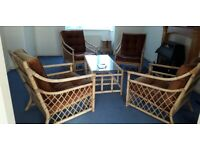 Conservatory furniture - 4 bamboo armchairs + table