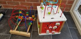 Ikea wooden bead roller and john Lewis activity cube