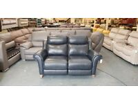Ex-display Sofology Holmes navy leather electric recliner 2 seater sofa