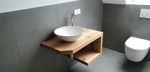 Regal Fensterbank Treppe Eiche Massiv Holz Natur Baumkante Waschtischplatte Waschtische & -becken