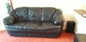 Black Leather 3 Seater Sofa And Pouf