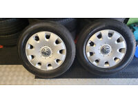 195 65 15 2 x tyres Goodride Radial + 2 x Wheels Steel Rims Skoda Audi VW