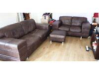 Leather sofa set, brown tan, vintage style