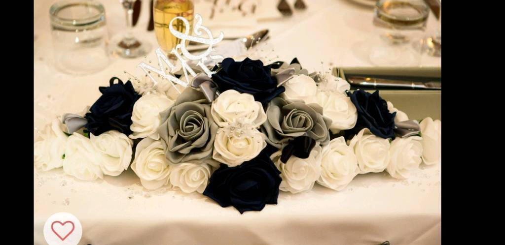 Wedding Table Flowers Decoration White Navy Grey In Kesgrave