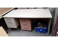 Straight Wooden Office Desk With A Pedestal Attached