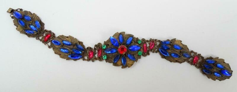 Antique Art Deco Czech Red, Blue, Green Marquise Rhinestone Leaf Plaque Bracelet