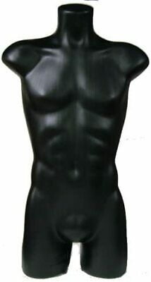 Male 34 Straight Pose Torso Form Mannequin Store Display Pe Plastic Black