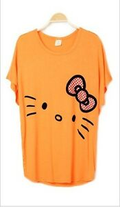 2013 New Modal Bowtie Hello Kitty Bat Wing Loose Short Sleeve Hip Long T-Shirt