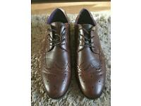 BROWN LEATHER, SIZE 11 BROGUE PATTERNED SMART SHOES