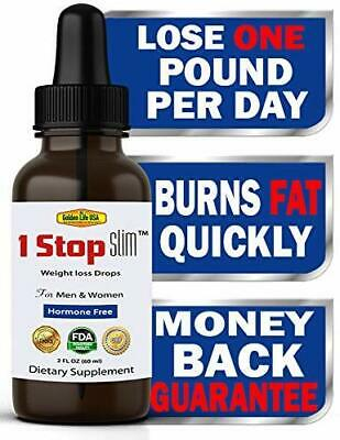 1 Stop Slim Thermogenic Weight Loss Diet Drops Best Fat Burner for Women &