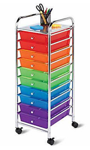 Honey Can Do 10-Drawer Multicolour Storage Cart