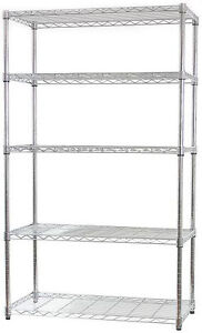 5 TIER CHROME METAL SHELF ~ STORAGE 5 SHELVES ~ PANTRY / KITCHEN / TOOLS / RACK