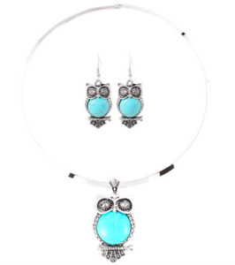 Beautiful Faux Gem Owl Necklace and Earrings Set - New