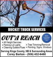 Bucket Truck Services-Tree Trimming, House Washing/Painting