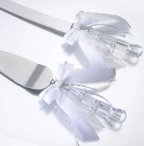 White Beaded Knife and Server Set