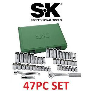 NEW 47PC STANDARD  DEEP SOCKET SET SK PROFESSIONAL TOOLS - 3/8-Inch Drive 6 Point Standard and Deep Socket Set