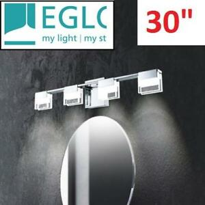 NEW EGLO 4 LIGHT LED VANITY FIXTURE 202117A 190674635 LIGHTING BATHROOM CHROME/CLEAR FROSTED GLASS 30""