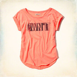 """NWT Hollister """"Own It"""" Graphic T-Shirt Medium Coral Pink Windsor Region Ontario image 1"""
