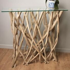 Unique driftwood console table
