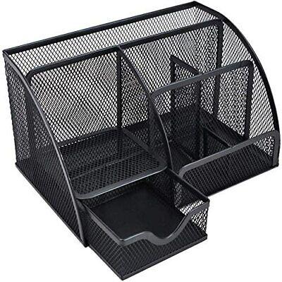 Office Desk Organizer Mesh Desktop Storage Basket With 6 Compartments Drawer