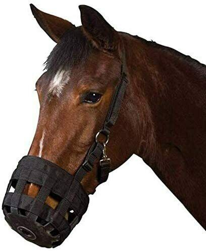 Horse Grazing Muzzle with Halter for Horse Easy Breathe and Comfortable (L)