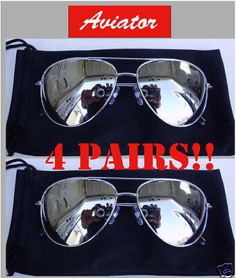 4 Pairs Men Classic Silver Mirror Top Gun Aviator Sunglasses