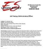 ES Upholstery - Job Posting: Administrative Officer