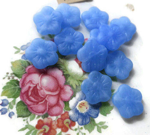 Vintage Czech Beads Pressed Glass Rose Flat Blue flower Colonial Floral #1670