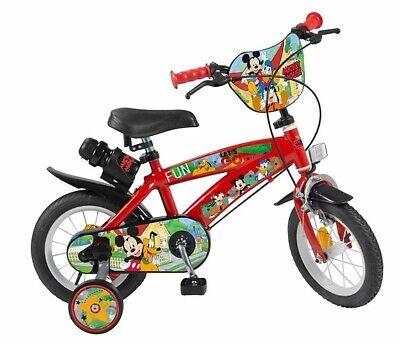 """Bici 12"""" Bimbo Topolino Mickey 3-5 Anni con Borraccia 618 Disney Toimsa"""
