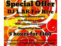 SPECIAL OFFER ! DJ FOR HIRE ! 5 HOURS £100