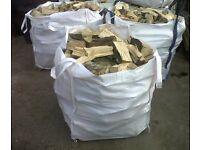 3x1ton bags of dry hardwood seasoned beech ash and oak log. £120 free delivery