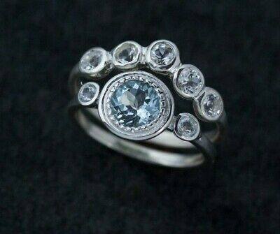 Madelynn Cassin Aquamarine White Sapphire, Topaz Stackable Ring Set Bridal 925