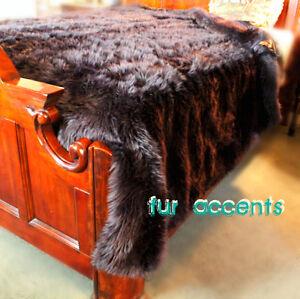 King Faux Fur Bedspread forter Throw Blanket Bear Pelt