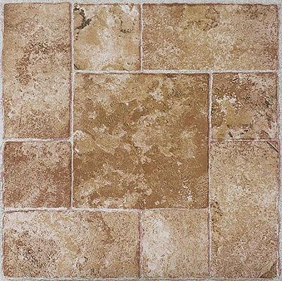 "BEIGE terracotta STONE self STICK adhesive VINYL floor TILES - 100 pcs 12"" x 12"""