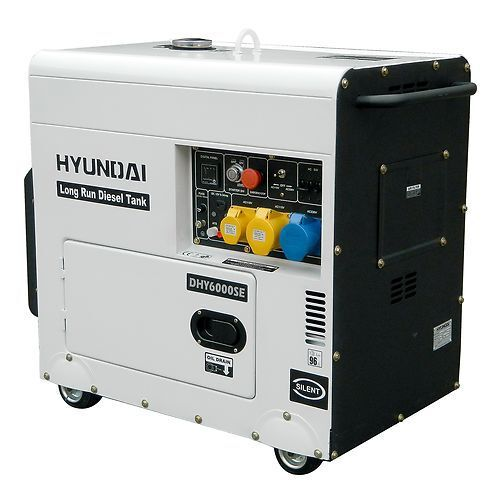 Hyundai DHY6000SELR Silent Diesel Generator Long Run Home Office Standby 5.2kw