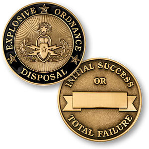 Explosive Ordnance Disposal antique enameled Bronze EOD US Army challenge coin