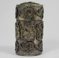 Chinese White Copper Handcrafted Phoenix Dragon Container