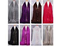 SALE Wholesale/Joblot x10 Cotton/Lurex Shimmer Large Soft Scarf/Scarves *ALL COLOURS*