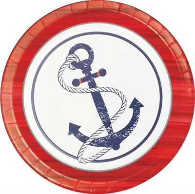 Anchors Away 9 Inch Paper Plates 8 Pack Anchor Nautical Boat Birthday Decoration - Nautical Paper Plates