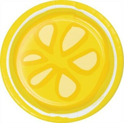 Picnic Lemonade 7 Inch Paper Plates 8 Pack Summer Lemons Birthday Party Decor - 7 Inch Paper Plates