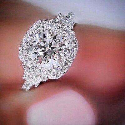 18K 2.10 Ct Halo Round Cut Diamond 3-Stone Half Moon Engagement Ring I,VS2 GIA